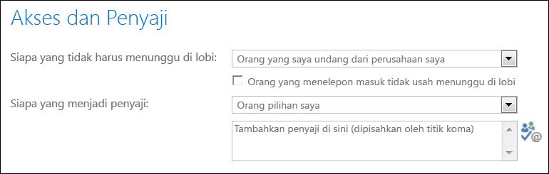 Cuplikan layar kotak dialog Akses dan Penyaji