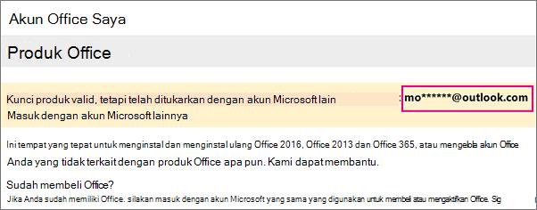 Halaman Akun Office menampilkan sebagian akun Microsoft