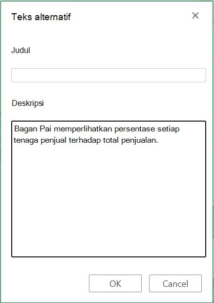 Kotak dialog teks alternatif di Excel untuk web.