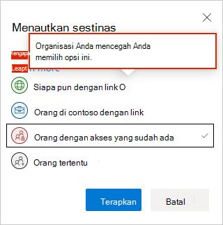 Pengaturan tautan web OneDrive