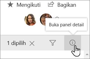 Cuplikan layar panel rincian daftar