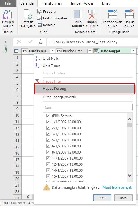 Power Query - Menghapus yang kosong melalui menu Filter Kolom