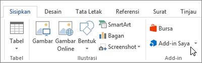 Cuplikan layar bagian tab Sisipkan pada pita Word dengan kursor mengarah ke Add-in. Pilih Add-in untuk mengakses add-in untuk Word.