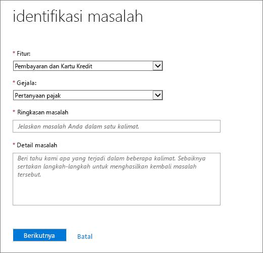 Mengidentifikasi masalah halaman di Office 365 Admin pusat layanan permintaan formulir.