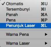 Pilih penunjuk laser dari pop-up menu