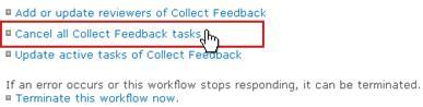 Batalkan semua link tugas Kumpulkan Umpan Balik pada halaman Status Alur Kerja