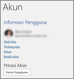 Panel akun memperlihatkan privasi akun, tombol Kelola pengaturan
