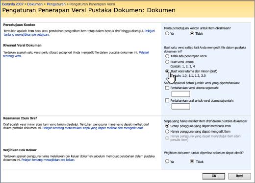 Pengaturan penerapan versi untuk mengaktifkan penerapan versi, persetujuan, dan mengharuskan check-in