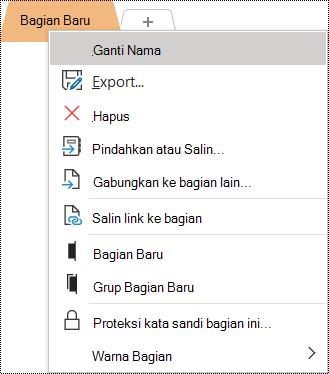 Cuplikan layar menu konteks dengan opsi Ganti Nama dipilih.