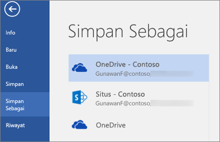 Menyimpan dokumen Word ke OneDrive for Business