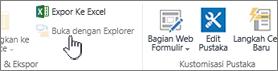 Buka dengan Explorer opsi dipilih tapi tidak diaktifkan.