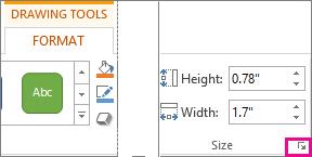 Peluncur kotak dialog dalam grup Ukuran pada tab Format Alat Menggambar
