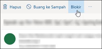 Pesan Outlook.com blok pilihan