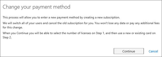 Cuplikan layar pemberitahuan yang ditampilkan ketika Anda beralih dari faktur ke kartu kredit pembayaran.