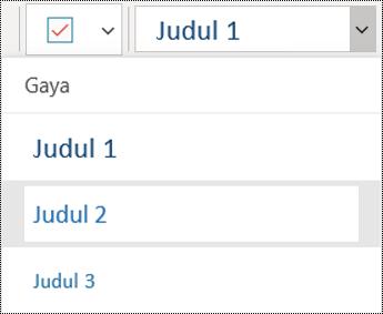 Daftar judul di aplikasi OneNote untuk Windows 10