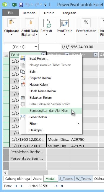 klik kanan untuk menyembunyikan bidang tabel dari Alat Klien Excel