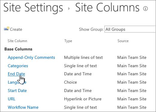 Menemukan kolom situs dan klik nama