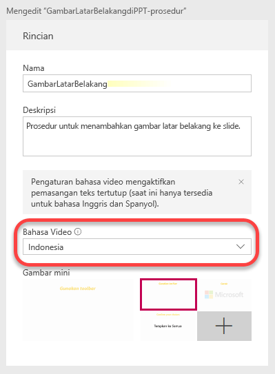 Di bawah detail, tentukan bahasa Video