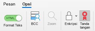 Memperlihatkan tombol tanda tangani pesan email