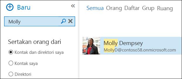 Pencarian orang Outlook WebApp