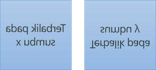 Contoh teks terbalik: teks pertama diputar 180 derajat pada sumbu x, dan teks kedua diputar 180 derajat pada sumbu y
