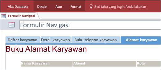 Cuplikan layar formulir navigasi