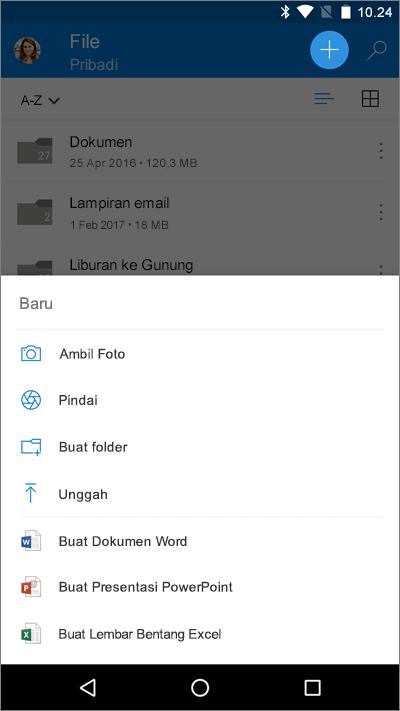 Cuplikan layar dari layar File di Word untuk iOS, memperlihatkan menu Tambahkan.