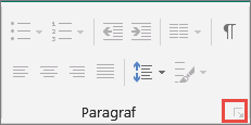 Klik peluncur kotak dialog paragraf
