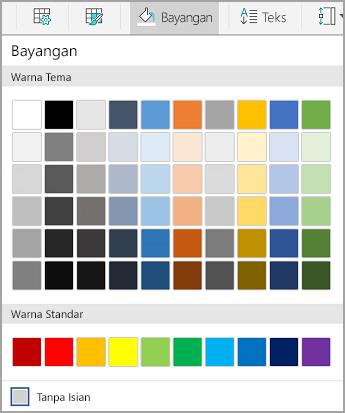 Opsi bayangan Android tabel