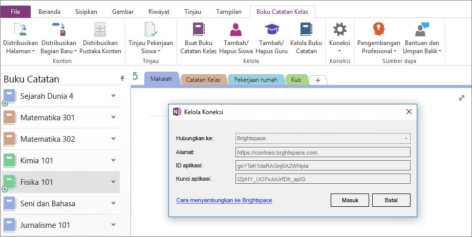 Cuplikan layar dialog koneksi buku catatan kelas OneNote add-in dengan kebijakan grup yang diaktifkan.