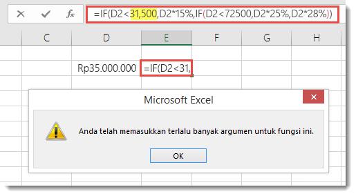 Pesan Excel ketika Anda menambahkan koma ke nilai