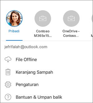 Cuplikan layar tentang beralih antar akun dalam aplikasi OneDrive di iOS