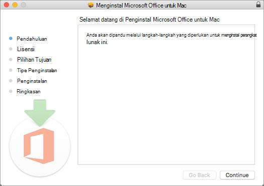 "Layar penginstalan pertama Mac 2016 dengan ""Lanjutkan"" disorot"