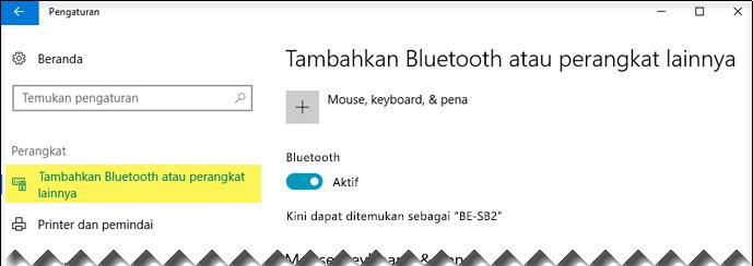 Pastikan opsi Bluetooth & perangkat lain dipilih di sisi kiri