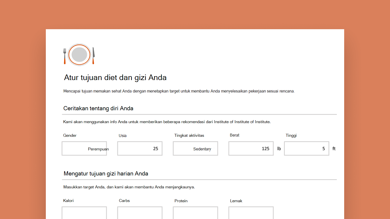 Cuplikan layar templat cerdas Pelacak Gizi.