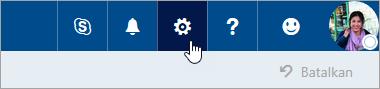 Cuplikan layar tombol Pengaturan di bilah navigasi.