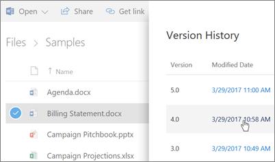 Cuplikan layar Riwayat Versi untuk OneDrive for Business file muncul di panel detail