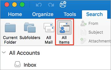 Memperlihatkan tombol semua item pada tab pencarian