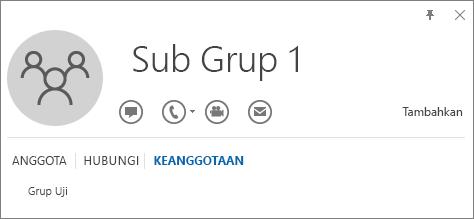 Cuplikan layar tab Keanggotaan dari kartu kontak Outlook untuk grup bernama Sub Grup 1, memperlihatkan bahwa Sub Grup 1 merupakan anggota dari grup bernama Grup Uji.