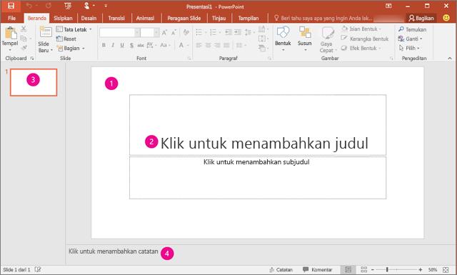 Memperlihatkan ruang kerja PowerPoint