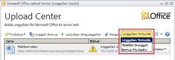 Office Upload Center memperlihatkan tertunda mengunggah