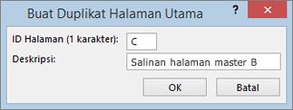 Cuplikan layar memperlihatkan kotak dialog duplikat halaman Master.