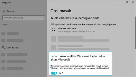 Opsi untuk menggunakan Windows Hello untuk masuk ke akun Microsoft diaktifkan.