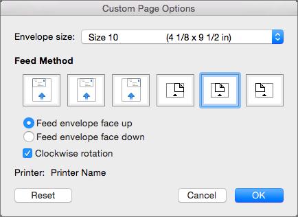 Di Opsi Halaman Kustom, pilih ukuran dan orientasi amplop untuk mengumpankan amplop ke dalam printer.
