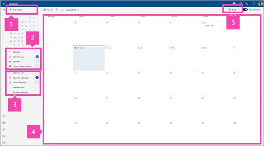 Cuplikan layar antarmuka Kalender