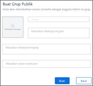 Cuplikan layar: membuat halaman grup publik