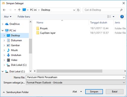 Anda bisa menyimpan pesan email yang sudah ada sebagai file.