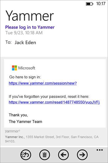 Pesan email pendaftaran