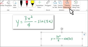 Persamaan yang ditulis tangan dan persamaan yang sama dikonversi menjadi teks dan angka yang diformat