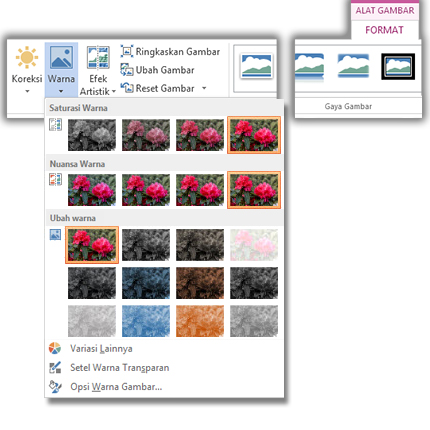 Menu tombol Warna terbuka dari tab Format Alat Gambar